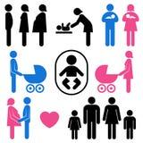 Insieme dell'icona del bambino e della famiglia Fotografia Stock Libera da Diritti