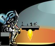 Insieme dell'icona del banco e di formazione Il robot gioca gli scacchi royalty illustrazione gratis