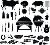 Insieme dell'icona del barbecue Fotografia Stock Libera da Diritti