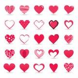 Insieme dell'icona del biglietto di S. Valentino del cuore Immagine Stock Libera da Diritti