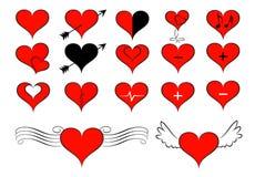 Insieme dell'icona del biglietto di S. Valentino del cuore immagini stock