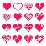 Insieme dell'icona del biglietto di S. Valentino del cuore Fotografie Stock