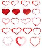 Insieme dell'icona del biglietto di S. Valentino del cuore fotografia stock