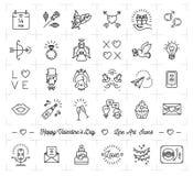 Insieme dell'icona del biglietto di S. Valentino, linea piana stile sottile, simboli di progettazione di amore illustrazione vettoriale