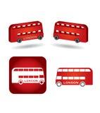 Insieme dell'icona del bus Fotografia Stock Libera da Diritti