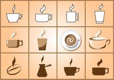 Insieme dell'icona del caffè Fotografia Stock Libera da Diritti