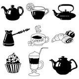 Insieme dell'icona del caffè di vettore Fotografia Stock