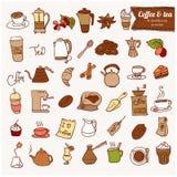 Insieme dell'icona del caffè e del tè c di Dooodle. Illustrazione di Stock
