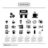 Insieme dell'icona del caffè e della tazza Immagini Stock Libere da Diritti