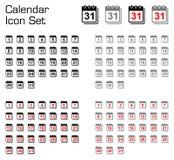 Insieme dell'icona del calendario Fotografia Stock Libera da Diritti