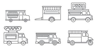 Insieme dell'icona del camion dell'alimento di festival, stile del profilo royalty illustrazione gratis
