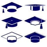 Insieme dell'icona del cappuccio di graduazione Immagine Stock