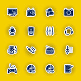 Insieme dell'icona del computer di multimedia isolato su giallo Fotografia Stock Libera da Diritti