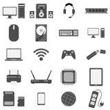 Insieme dell'icona del computer e dell'hardware Fotografia Stock Libera da Diritti