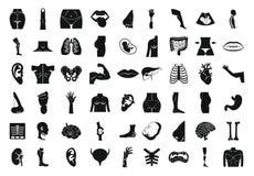 Insieme dell'icona del corpo umano, stile semplice illustrazione di stock