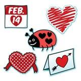 Insieme dell'icona del cuore della coccinella dell'insetto di amore di giorno di biglietti di S. Valentino Fotografie Stock