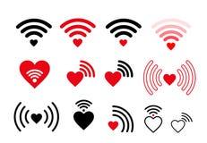 Insieme dell'icona del cuore di wifi Illustrazione di vettore Isolato su priorità bassa bianca Immagini Stock