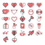 Insieme dell'icona del cuore Illustrazione di giorno del `s del biglietto di S Fotografia Stock Libera da Diritti