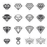 Insieme dell'icona del diamante Immagine Stock