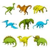 Insieme dell'icona del dinosauro del fumetto Immagine Stock