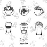 Insieme dell'icona del disegno del caffè Fotografie Stock