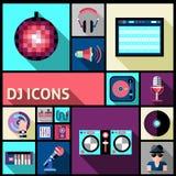 Insieme dell'icona del DJ Immagini Stock