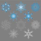 Insieme dell'icona del fiocco di neve Immagine Stock