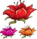 Insieme dell'icona del fiore Fotografia Stock