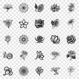 Insieme dell'icona del fiore, stile semplice royalty illustrazione gratis