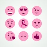 Insieme dell'icona del fronte di emoji di rosa di consapevolezza del cancro al seno Immagine Stock