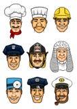 Insieme dell'icona del fumetto di professioni per progettazione di occupazione illustrazione vettoriale