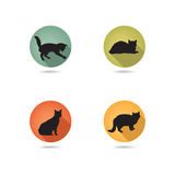 Insieme dell'icona del gatto Pets la siluetta dell'icona Fotografia Stock