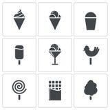 Insieme dell'icona del gelato e dei dolci Fotografie Stock Libere da Diritti