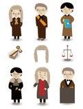 Insieme dell'icona del giudice del fumetto Fotografie Stock Libere da Diritti