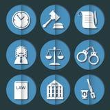 Insieme dell'icona del giudice di legge, segno della giustizia Immagini Stock Libere da Diritti
