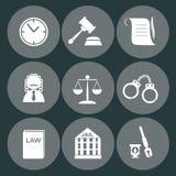 Insieme dell'icona del giudice di legge, segno della giustizia Fotografia Stock Libera da Diritti