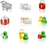 Insieme dell'icona del Internet e di Web Fotografia Stock