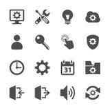 Insieme dell'icona del menu della regolazione, vettore eps10 Fotografia Stock
