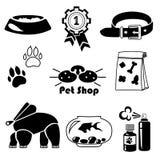 Insieme dell'icona del negozio di animali di vettore Fotografia Stock Libera da Diritti