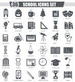 Insieme dell'icona del nero della scuola di vettore Progettazione classica grigio scuro dell'icona per il web Fotografia Stock Libera da Diritti
