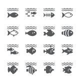 Insieme dell'icona del pesce royalty illustrazione gratis