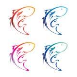 Insieme dell'icona del pesce Immagine Stock