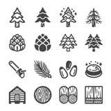 Insieme dell'icona del pino royalty illustrazione gratis