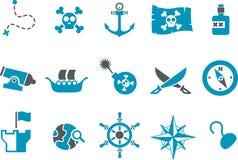 Insieme dell'icona del pirata Fotografia Stock