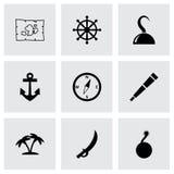 Insieme dell'icona del pirata di vettore Fotografia Stock Libera da Diritti