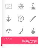 Insieme dell'icona del pirata di vettore Fotografie Stock Libere da Diritti