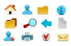 Insieme dell'icona del Plasticine Fotografie Stock