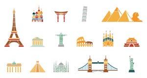 Insieme dell'icona del punto di riferimento del mondo illustrazione di stock
