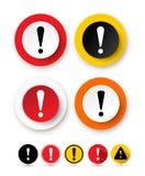 Insieme dell'icona del punto esclamativo Simbolo di pericolo di rischio Icona del segno di attenzione Illustrazione di vettore Is Immagine Stock