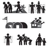 Insieme dell'icona del rifugiato Fotografia Stock